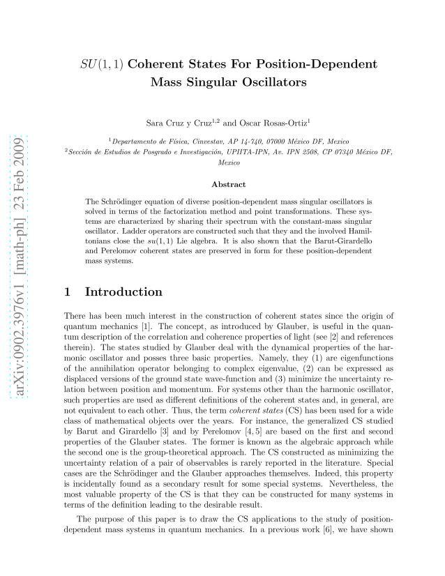 Sara Cruz y Cruz - SU(1,1) Coherent States For Position-Dependent Mass Singular Oscillators