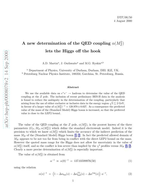 A. D. Martin - A new determination of the QED coupling alpha(M_Z^2) lets the Higgs off the hook
