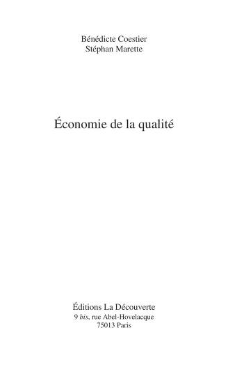E conomie de la qualite by Be ne dicte Coestier